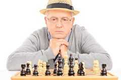 Senior contemplating his next move in game of chess. Isolated on white background Royalty Free Stock Image