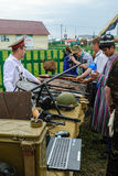 Senior cossack demonstrates rifles collection Stock Photos