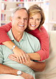 Senior couple. Smiling and happy at home royalty free stock photo