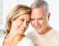 Senior couple. Smiling and happy at home stock photo