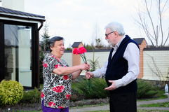 Senior couple. A senior man gives flowers to his wife royalty free stock images