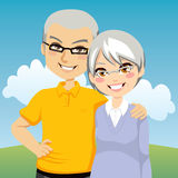 Senior Couple. Portrait illustration of lovely cheerful retired couple together Stock Images