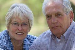 Senior couple. (focus on woman, shallow dof royalty free stock image