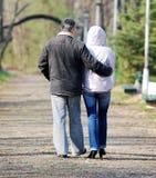 Senior couple. Walking at the park stock photo