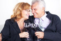 Senior couple. Happy senior couple sitting embraced at home, smiling and drinking red wine Stock Photos