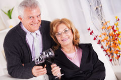 Senior couple. In home interior enjoying in glass of wine Stock Images