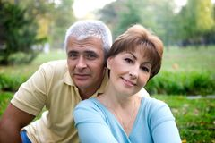 Senior couple. In love at the park stock images