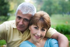 Senior couple. In love at the park royalty free stock image