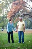 Senior couple. Walking at the park stock photos