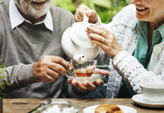 Senior Couple Afternoon Tea Drinking Relax Concept Royalty Free Stock Photos