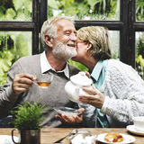 Senior Couple Afternoon Tea Drinking Relax Concept Stock Photos