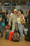 Senior couple  at the airport Stock Photography
