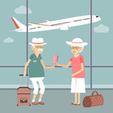 Senior Couple at Airport Stock Images