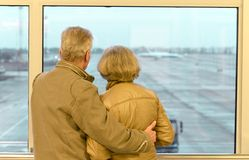 Senior couple at airport Stock Photography