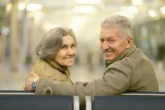 Senior couple at airport Royalty Free Stock Image