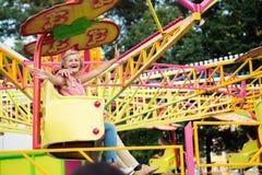 Senior couple in amusement park Stock Photo
