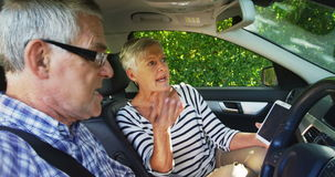 Senior couple arguing in the car. Angry senior couple arguing in the car stock footage