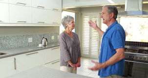 Senior couple arguing with each other. At home stock footage