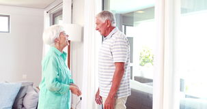 Senior couple arguing. At home stock video