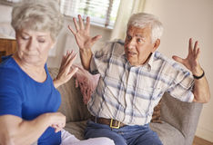 Senior couple in argument Stock Photography