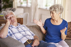 Senior couple in argument Stock Image