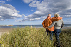 Senior couple arm in arm on sand dune, looking out to sea, rear view Stock Photo