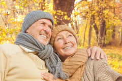 Senior Couple Autumn Fall Stock Photo