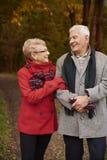 Senior couple during autumn stock photos