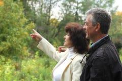 Senior couple in the autumn park. Happy senior couple in the autumn park Stock Photo
