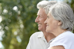 Senior couple in autumn park Royalty Free Stock Image