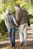 Senior couple on autumn walk. Through woodland Royalty Free Stock Photo