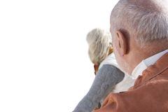 Senior couple, back of heads, close-up, cut out Royalty Free Stock Photo