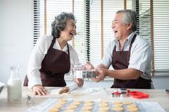 Senior couple baking cookies stock photography