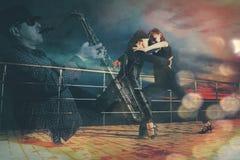 Senior couple ballroom dancing. Double Exposure Royalty Free Stock Image