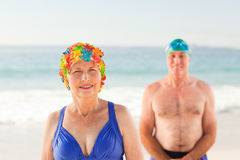 Senior couple at the beach Stock Photography