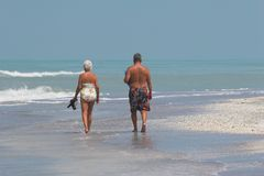 Senior couple on beach Stock Photo