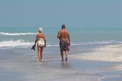 Senior couple on beach Stock Photo