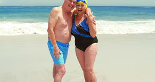 Senior couple at the beach. With fins and goggles stock footage
