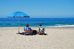 Senior couple on the beach in Laguna Beach, California. Royalty Free Stock Photos