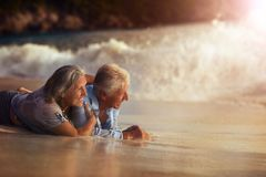 Senior couple on beach Royalty Free Stock Photo