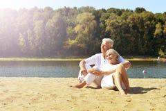 Senior couple on beach Royalty Free Stock Photography