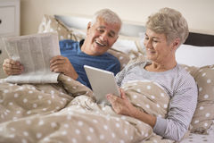 Senior couple in the bed Royalty Free Stock Photo