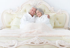 Senior couple in bed Stock Images