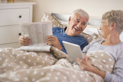 Senior couple in the bed Royalty Free Stock Photography