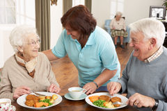 Senior Couple Being Served Meal By Carer