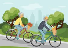 Cycling senior couple Stock Images