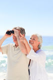 Senior couple bird watching Royalty Free Stock Image