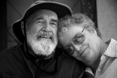 Senior couple black and white. Porch with senior couple in black and white Royalty Free Stock Photos