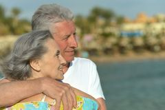 Senior couple at blue sea Royalty Free Stock Image