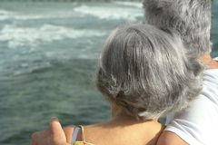 Senior couple at blue sea Stock Image